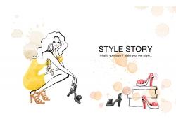 都市时尚女性插画PSD素材图片