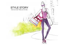 时装设计手绘插画PSD素材图片