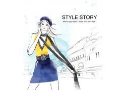 时尚都市女性商业插画PSD素材图片