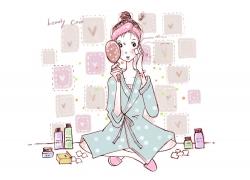 可爱卡通女孩插画PSD素材图片