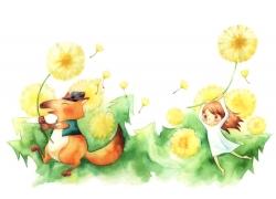 手拿蒲公英的狐狸和女孩PSD分层素材图片
