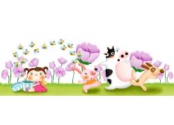 可爱小动物与小女孩PSD分层素材图片