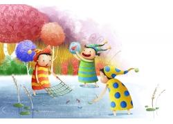 捉鱼的卡通儿童女孩PSD分层素材图片