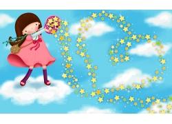 天空中撒星星的女孩PSD分层素材图片