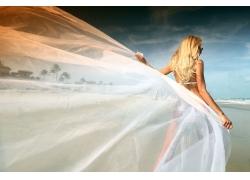 沙滩美女写真摄影高清图片