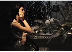 复古造型外国美女高清图片