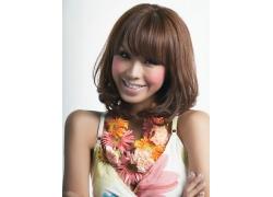 戴着花环性感甜美女人发型设计高清图片