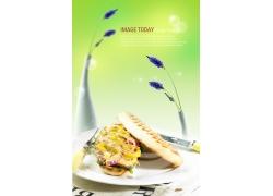 洋葱面包美食海报PSD分层素材