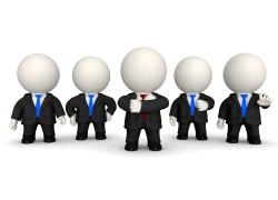 并排站立的3D商业团队图片