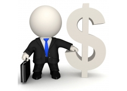 3D商业人物与货币符号图片