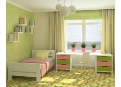 整洁的儿童卧室3D效果图