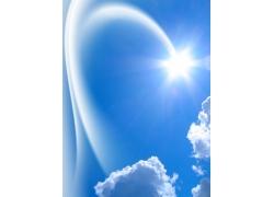 蓝天白云与阳光高清图片