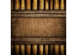 陈旧木板与竹子背景