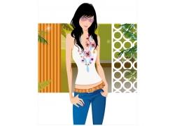 时尚女孩插画矢量素材图片