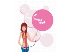 可爱卡通女孩矢量素材图片
