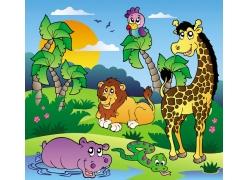 非洲卡通动物矢量图
