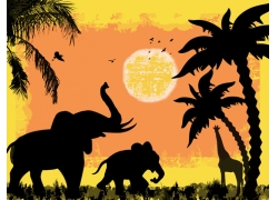 夕阳非洲动物矢量图