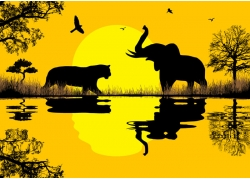 黄昏非洲动物矢量图