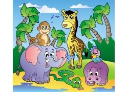 热带卡通动物矢量图