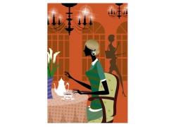 喝咖啡的女人矢量图图片