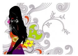 时尚插画女孩素材图片