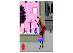 购物美女矢量插画图片