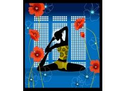 练瑜珈的女性矢量插画图片
