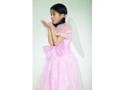 翅膀女孩艺术照素材