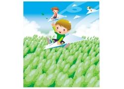 纸飞机的可爱儿童图片
