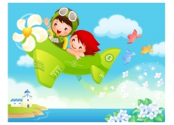 飞机上的儿童矢量素材图片
