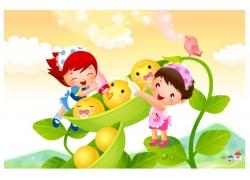 豆角与卡通儿童矢量素材图片