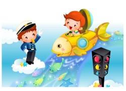 乘宇宙飞船的儿童矢量素材图片