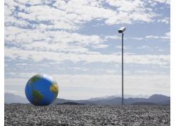 自然风景下的地球与摄相机