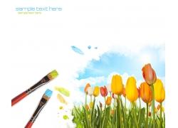 画笔与花朵