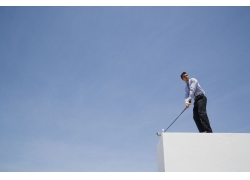 高尔夫球与商务男人图片素材
