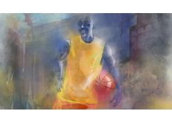 篮球运动员插画图片