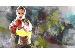 拳击运动员插画图片