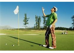 时尚高尔夫球男人