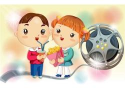 看电影的卡通儿童图片