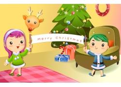 过圣诞的卡通儿童图片