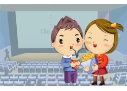 影院里的卡通情侣图片