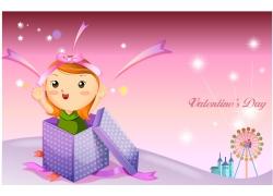 礼物与可爱卡通女孩图片