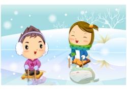 滑雪的可爱卡通儿童图片