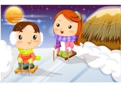 滑雪的卡通儿童图片