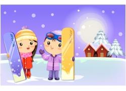 手拿滑雪板的卡通儿童图片