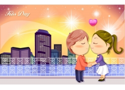 亲吻的卡通情侣图片
