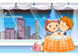 过生日的卡通情侣图片