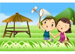 捉蜻蜓的卡通儿童图片