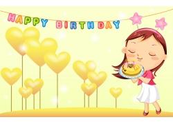 端着生日蛋糕的卡通女孩图片