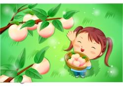 手捧桃子的卡通女孩图片